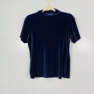 Vintage Y2K Blue Shimmery Velvet High Neck Blouse